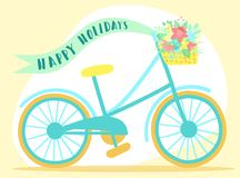Vector image of a bicycle with basket, flowers, ribbon and butterflies on a pink background. Hand-drawn Easter illustration for s royalty free illustration