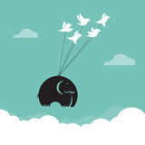 Vector image of bird and elephant in the sky, Represents the uni Stock Images
