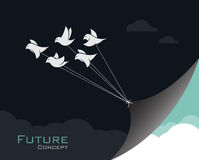 Vector image of birds changing reality. Royalty Free Stock Images
