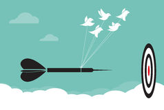 Vector image of birds with darts target aim in the sky, Represen Stock Images