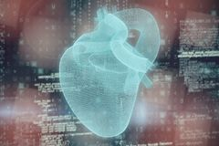 Composite image of vector image of?Â?blue 3d human heart stock illustration