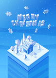 Vector image of the blue wooden christmas house Stock Photo