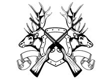 Elk heads and crossed rifle Stock Image