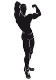 Vector image with bodybuilder, silhouette Royalty Free Stock Image