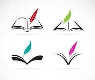 Vector image of an book and feather vector illustration