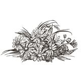 Vector image of a bouquet of wild flowers. Vintage sketch. stock illustration