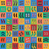 Socks for a lady and a gentleman on colored squares. Vector image of bright socks for a lady and a gentleman on colored squares. Seamless pattern for textiles Stock Images