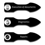 Arrows pointers with icons. Vector image of bulky pointer pointers with icons for documentation, diagnostics and repair Royalty Free Stock Photography