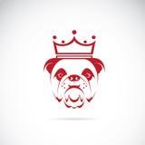 Vector image of bulldog head wearing a crown