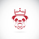 Vector image of bulldog head wearing a crown. On white background Royalty Free Stock Photos