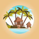 Vector image a bungalow on the shore of a lagoon vector illustration