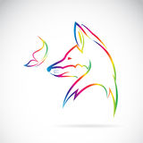 Vector image of butterfly and fox Stock Images