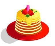 Vector drawing colorful cake of a decorated with decor, cream and fruits , on white background royalty free illustration