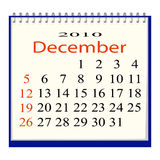 Vector image of a calendar for December. 2010 Royalty Free Illustration