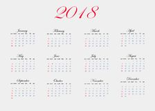 Vector image of the calendar for 2018 year. The calendar is incl. Uded 12 months of the year Stock Images