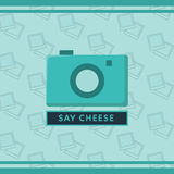 Vector image of camera with text say cheese. Conceptual vector image of camera with text say cheese Stock Photo