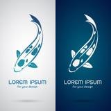 Vector image of an carp koi design. On white background and blue background, Logo, Symbol stock illustration
