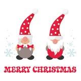 Cartoon christmas gnome boy and girl and christmas text. Vector image a cartoon christmas gnome boy and girl and christmas text stock illustration