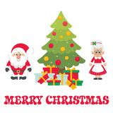 Cartoon cute santa claus with christmas fir tree and gifts and mrs santa vector. Vector image of a cartoon cute santa claus with christmas fir tree and gifts and Stock Photos