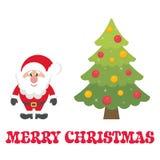 Cartoon cute santa claus with christmas fir tree and text. Vector image of a cartoon cute santa claus with christmas fir tree and text Royalty Free Stock Photo