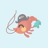 Vector image of a cartoon funny shrimp. Stock Photography