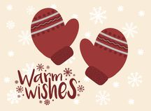 Vector image of cartoon red mittens. Winter Christmas and Christmas illustration. Hand-drawn greeting card against the backdrop of. Snowflakes. The inscription stock illustration