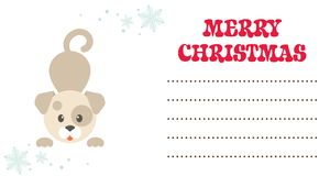 Cartoon winter dog christmas card vector Royalty Free Stock Images