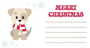 Cartoon winter dog christmas card Royalty Free Stock Images