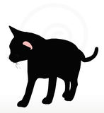 Vector Image - cat silhouette in Rubbing Scent pose  on white background Stock Photography