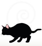 Vector Image - cat silhouette in Stalking pose  on white background Stock Photos
