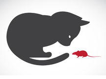 Vector image of an cats and rats Royalty Free Stock Photos