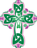 Vector image Celtic cross with flowers thistle Royalty Free Stock Photos