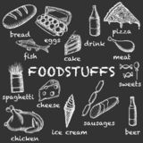 Vector image of chalk-drawn food on a dark background with inscriptions under each icon. Graphic vintage illustration. stock illustration