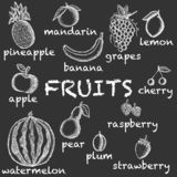 Vector image of chalk-drawn fruits on a dark background with inscriptions under each icon. Graphic illustration. stock illustration
