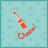 Vector image of champagne bottle with text cheers Stock Photography