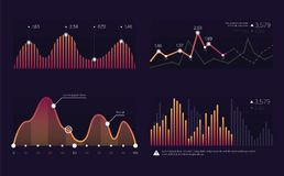 Vector image charts and diagrams for presentation or financial report. Infographics concept.Increase and decrease of. Indicators in graphic diagram. Colorful royalty free illustration