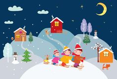 A happy familly skiing on Christmas eve. Vector image of a cheerful family skiing on Christmas time stock illustration