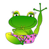 Vector image cheerful green frog in pink panties. Royalty Free Stock Photo
