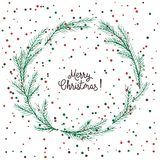 Vector image of a Christmas wreath, a wreath of green fir. Merry Christmas inscription in the center. Christmas mood. Universal us. Vector image of a Christmas stock illustration
