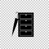Vector image of a closed wardrobe for clothes and an umbrella Stock Photo