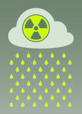 Vector image of cloud with radioactive icon and nuclear fallout Stock Photos