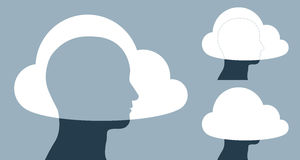 Vector image of clouds covering human heads Stock Photos