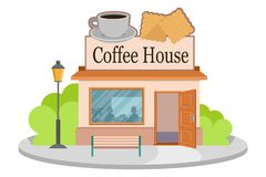 Vector image coffee house. Facade of coffee house isolated on white background. Street coffee house. Freshly brewed coffee. Cafe. Emblem. Vector graphics to vector illustration