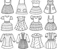 Styles of various dresses for little girls. Vector image of the collection of the children dresses Stock Photography