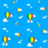 Vector image of colorful hot air balloons in blue sky Royalty Free Stock Images