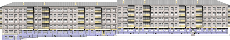 Five story apartment block in vector. The vector drawing facade of  five-storey condo apartment block with neighborhood Stock Photos