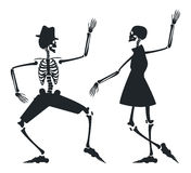 Vector image with couple silhouette of skeleton Stock Image