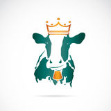 Vector image of cow wearing a crown Royalty Free Stock Photo