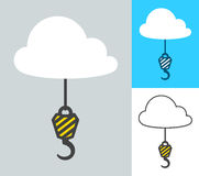 Vector image of crane hooks attached to clouds Stock Image