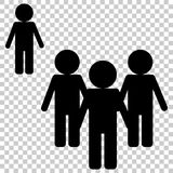 Vector image of a crowd of people and one person standing aside. A person different from others  in being outside the crowd. Persons symbol. Crowd signs Royalty Free Stock Images